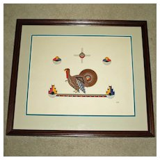 Awa Tsireh Native American Signed Framed Print of Turkey - Great Colors