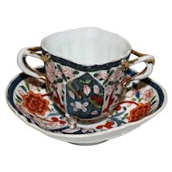 Bouillon Cup and Saucer, 3 Footed, 2 Handled in Deep Orange & Cobalt
