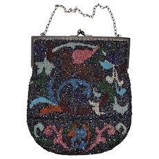 Antique Beaded Bag with Vivid Coloration and Leather Lining