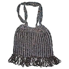 Vintage Allover Beaded Purse with Bead Fringe