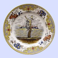 "c. 1820 Antique  French Faience Creil Plate, ""L'ours Martin"" - Bear in Tree"