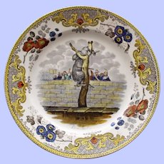 """c. 1820 Antique  French Faience Creil Plate, """"L'ours Martin"""" - Bear in Tree"""