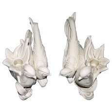 Pair of Cream Porcelain Bird Candlesticks