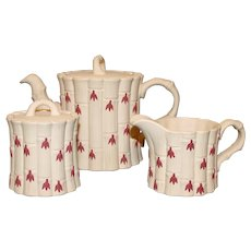 Wedgwood Jasperware Teapot, Sugar, Creamer Set in Terra Cotta & Primrose