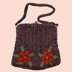Antique Beaded Purse with Red Flowers