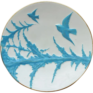 1877 Antique English Aesthetic Plate, Blue Birds & Blue Spruce