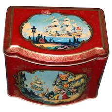 Antique English Blue Bird Confectionery Tin Featuring Ships