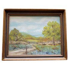 Original Small Signed Framed Painting of Bluebonnets