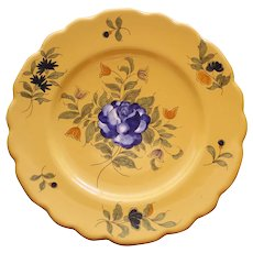 Antique Vieux Montpellier French Faience Yellow Plate, Blue Rose # 2
