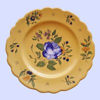 Antique Vieux Montpellier French Faience Yellow Plate, Blue Rose # 3