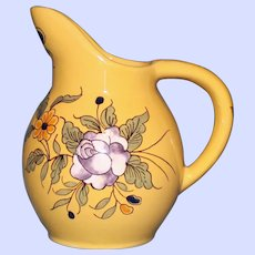 Antique French Faience Vieux Montpellier Yellow Cream Pitcher, Rose & Olive