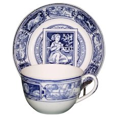 "Antique Wedgwood ""Banquet Series"" Transferware Cup & Saucer, Every Day Brings Its Bread With It"