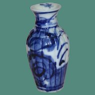 Antique Blue and White Chinese Vase with Floral Decoration