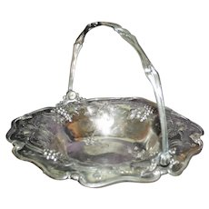 Antique Silverplate Bride's Basket with Grapes