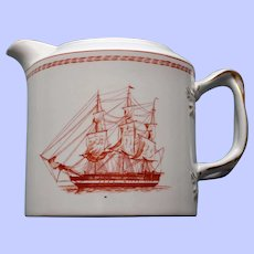 """Spode """"Trade Winds"""" Red Creamer, """"H.E.J.C. Thomas Faith Coutts, Brig Built 1820"""""""