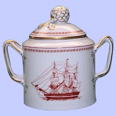 """Spode """"Trade Winds"""" Red Covered Sugar, """"H.E.J.C. Thomas Faith Coutts, Brig Built 1820"""""""