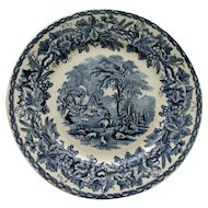 Vintage Blue and White Transferware Plate - British Scenery by Booths