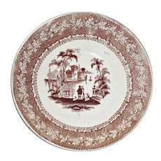 Antique Brown and White Transferware Dish, Family & Dog on Riverbank