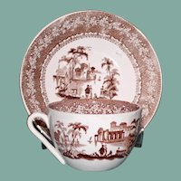 Antique Brown Transferware Cup and Saucer, River Scene