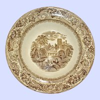 Antique Brown Transferware Bowl with Pastoral Scene