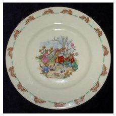 Bunnykins Plate by Royal Doulton Featuring Gardening