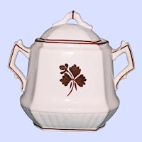 "H. Burgess Antique ""Tea Leaf"" Covered Sugar Bowl, Ironstone China, Staffordshire"