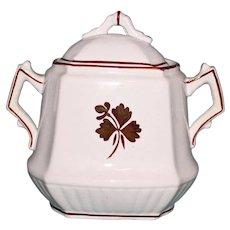 "H. Burgess Antique ""Tea Leaf"" Covered Sugar Bowl, Ironstone China, Staffordshire"