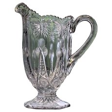 Early American Antique Pattern Glass Pitcher with Butterflies