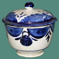Early 19th Century Cobalt and White Bowl with Lid