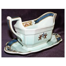 Adams English Calyx Ware Gravy Boat with Attached Underplate, Ming Toi