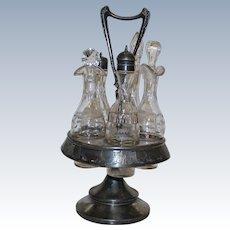 Antique Meriden 5 Bottle Castor Set