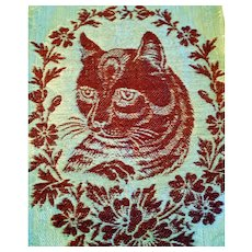 Antique Linen Towel, Fringed with Red Cat Face