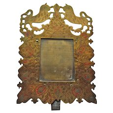 Antique Brass Picture Frame Featuring Cats