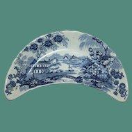 "Clarice Cliff Royal Staffordshire ""Tonquin"" Blue Transferware Bone Dish"