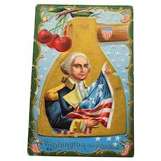 1911 Patriotic George Washington Postcard, Washington Birthday Series No 2
