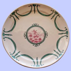 Antique French Faience Plate, Winged Cherub Flying Over Landscape #2