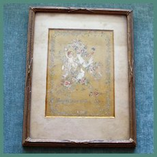 Antique Framed Card with Cherub and Birds - Forget Me Not!