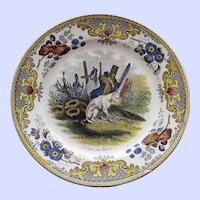 "c. 1830 Antique French Faience Creil Plate, ""Le chien du Louvre"" (Dog of the Louvre)"
