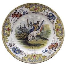 """c. 1830 Antique French Faience Creil Plate, """"Le chien du Louvre"""" (Dog of the Louvre)"""