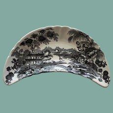 "Vintage English Royal Staffordshire Clarice Cliff Black Transferware Bone Dish, ""Tonquin"""