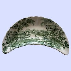 Vintage Clarice Cliff Green Bone Dish