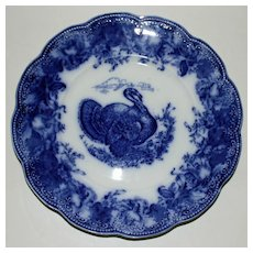 "Wedgwood Flow Blue ""Clytie"" Antique Turkey Plate for Thanksgiving"