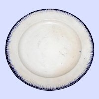 c. 1810 Cobalt Feather Plate by Bott & Co.