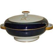 Rosenthal Cobalt, White, and Gilt Continental Covered Vegetable Bowl