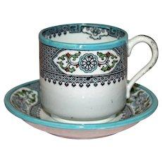 Antique English Copeland Demitasse Cup and Saucer, Deep Border Design