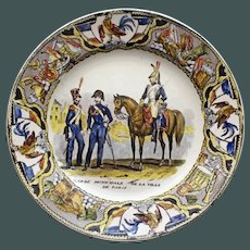Antique French Faience Creil Plate - 3 Soldiers Conversing
