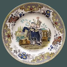 Antique French Faience Creil Plate - Two Boys Playing Soldiers