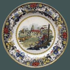Antique French Faience Creil Plate, Village Scene, Dog, Fisherman