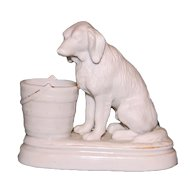 Antique Bisque Dog with Porcelain Match Holder - Charming