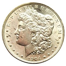 1904 O Morgan Silver Dollar Uncirculated, 90% Silver, New Orleans Mint